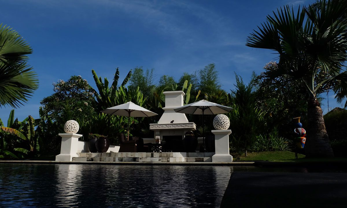 bali villa with open fire place