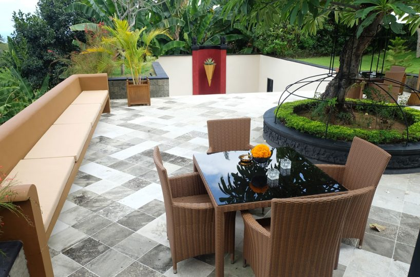 bali villa with large terrace and view